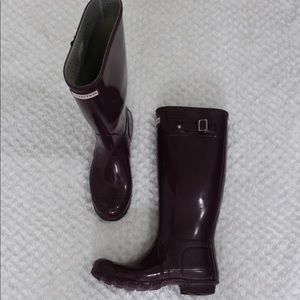 Hunter Rain Boots Plum